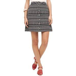 Anthropologie Maeve Black White Tribal Short Skirt